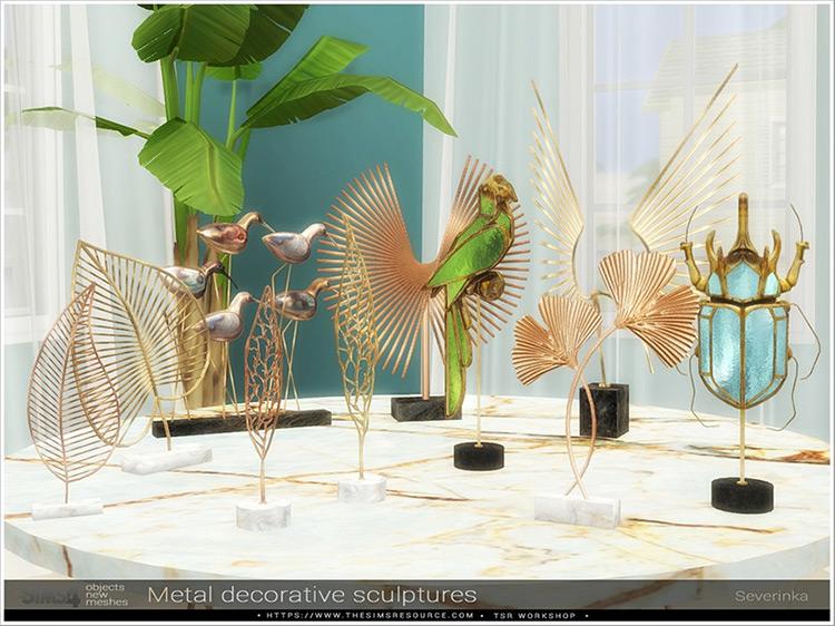 Metal Decorative Bird Sculptures / TS4 CC