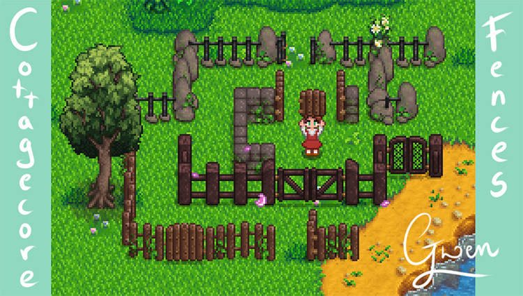 Cottagecore Fences Mod for Stardew Valley
