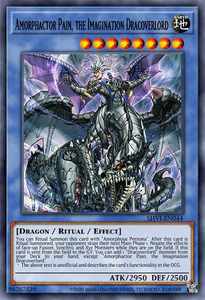 Amorphactor Pain, the Imagination Dracoverlord YGO Card