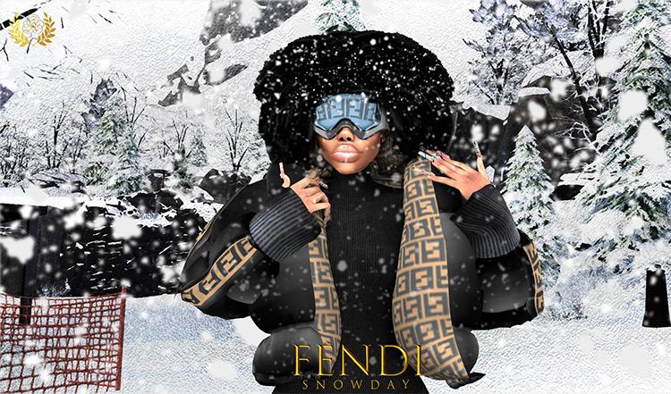 Fendi Snow Day CC Set for The Sims 4