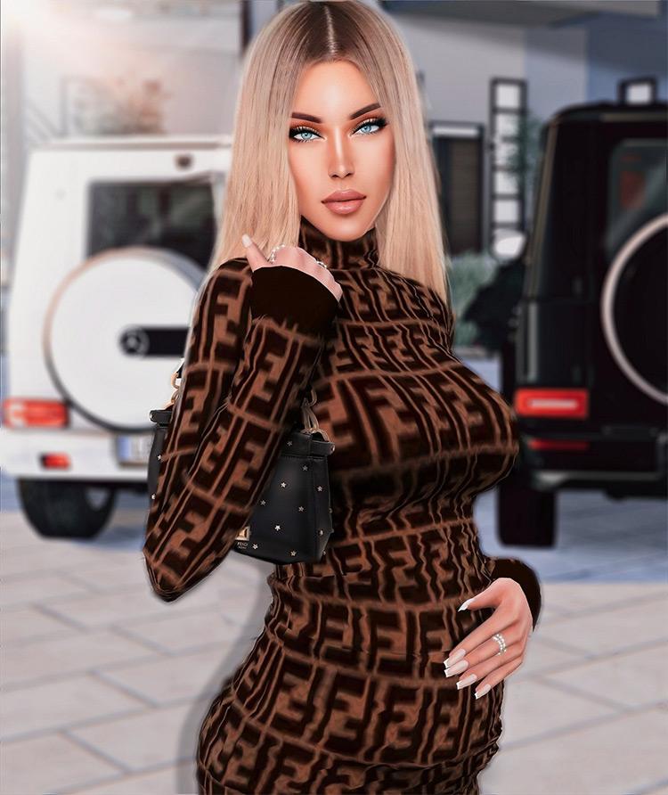 Fendi Logo Dress / Sims 4 CC