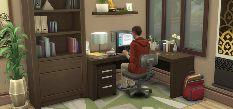 Maxis Match Corner Desk in Home Office / Sims 4 CC