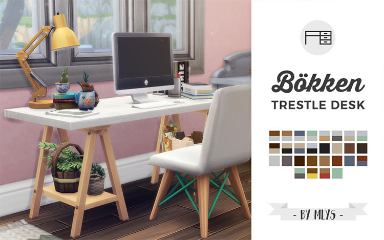 Trestle Desk Maxis Match CC for The Sims 4