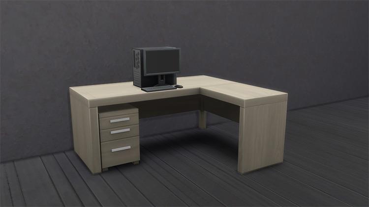 Corner Home Office Desk for The Sims 4