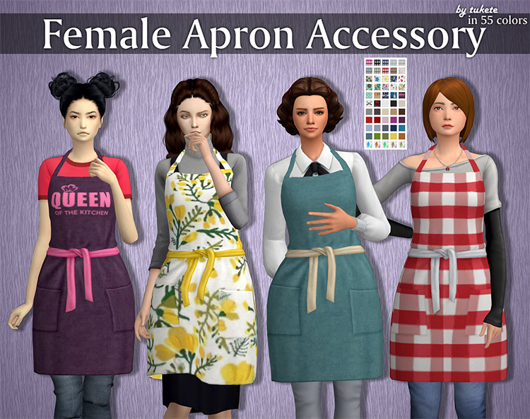 Girl's Apron Accessory for The Sims 4