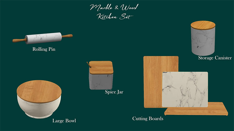 Marble & Wood Kitchen CC Set for The Sims 4