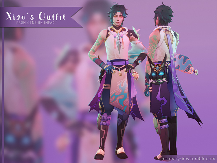 Genshin Impact Xiao's Outfit / Sims 4 CC