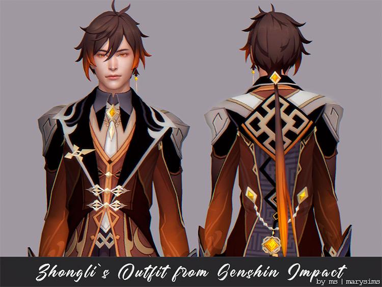 Genshin Impact Zhongli's Outfit / Sims 4 CC