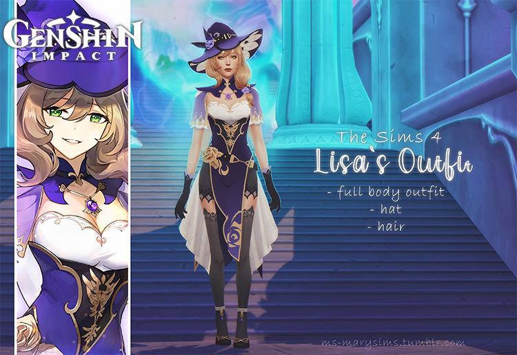 Genshin Impact Lisa's Outfit / Sims 4 CC