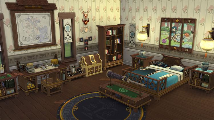 Genshin Impact Cross Room CC for The Sims 4