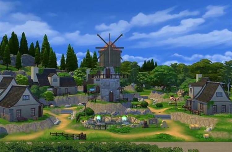 Genshin Springvale Custom Lot for The Sims 4