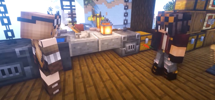 Steampunk Minecraft World with Guy & Girl Character