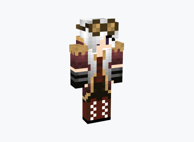 Classic Steampunk Girl with White Hair / Minecraft Skin