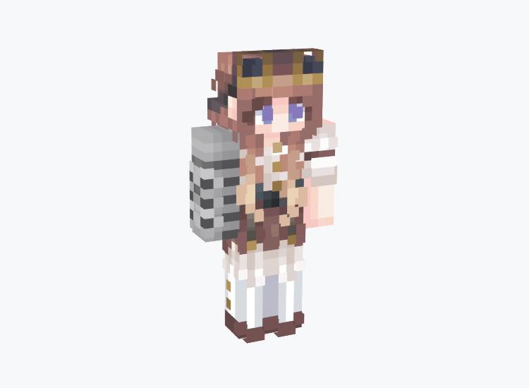 Brunette Steampunk Girl / Minecraft Skin