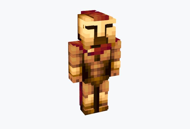 Gold & Red Spartan Warrior / Minecraft Skin