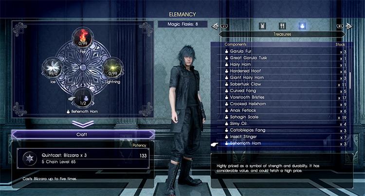 Quintcast Elemancy in FFXV screenshot