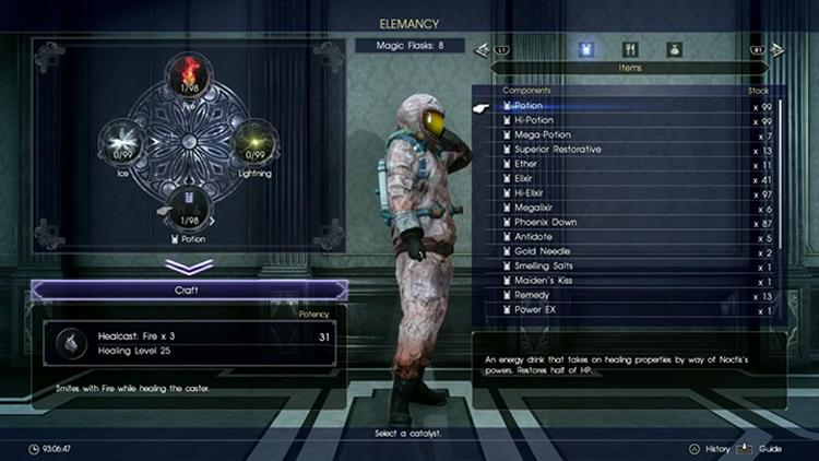Healcast Elemancy in FFXV screenshot