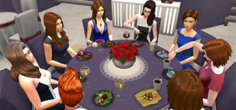 Big Round Festive Holiday Table CC for The Sims 4
