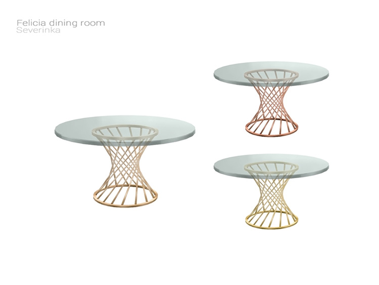 Sims 4 CC Felicia Round Dining Table