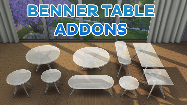 Sims 4 CC Benner Table Add-ons and Recolors