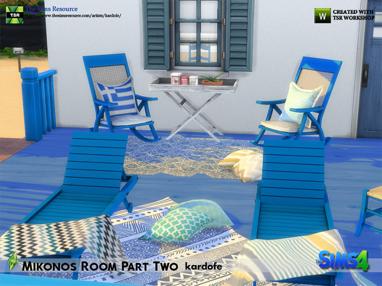 Mykonos Room CC Set for The Sims 4