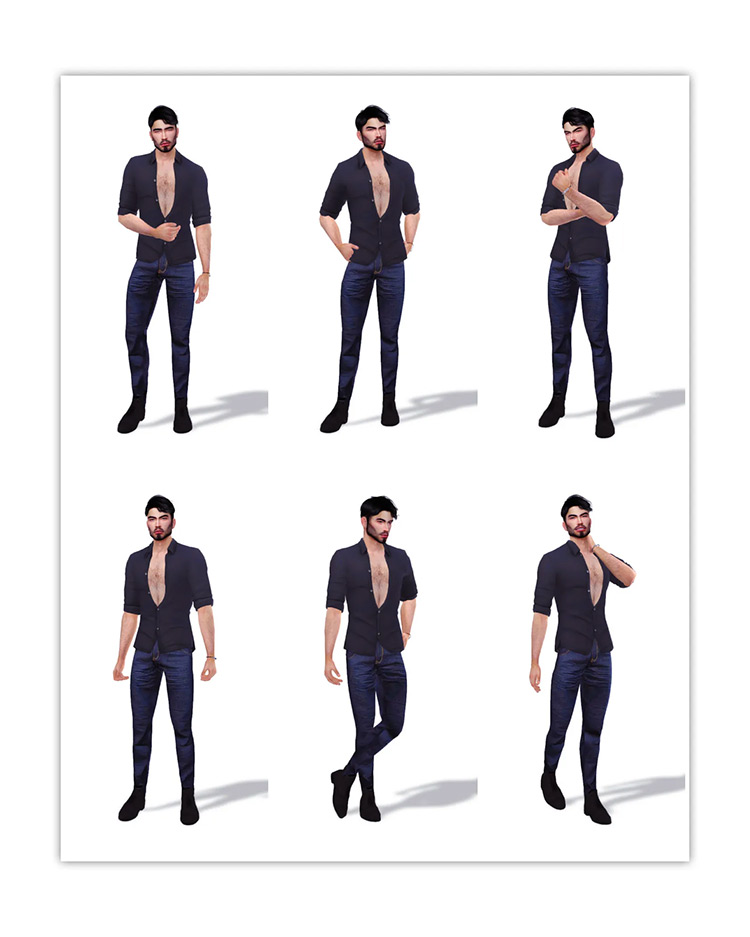 Male Modeling Poses Set / Sims 4 CC