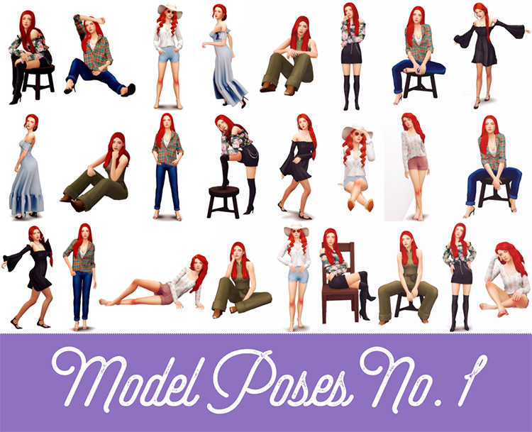 Model Poses No.1 for The Sims 4