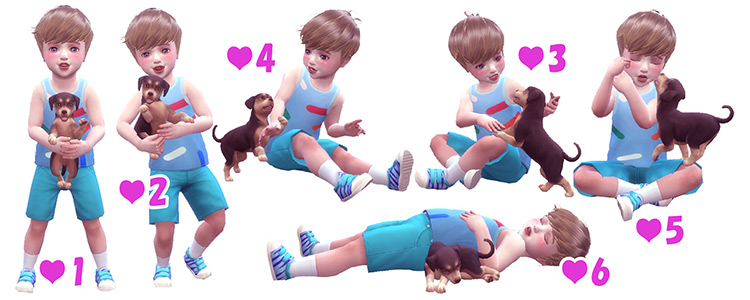 Toddler & Puppy Pose Pack / TS4 CC