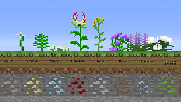 Ore Flowers mod for Minecraft
