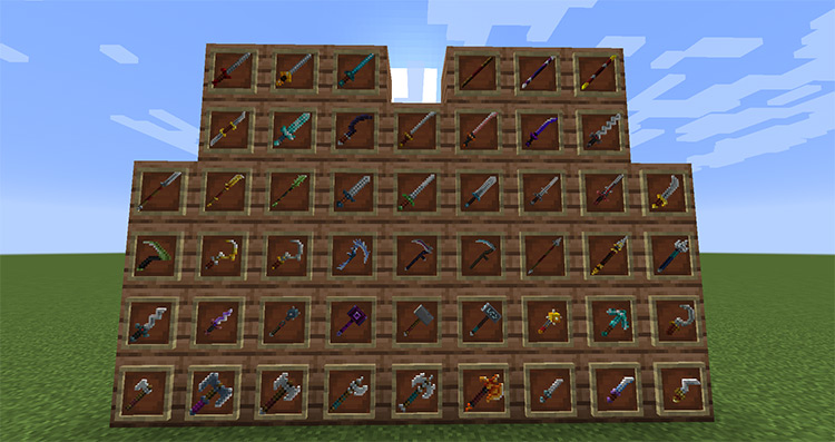 MC Dungeons Weapons mod for Minecraft
