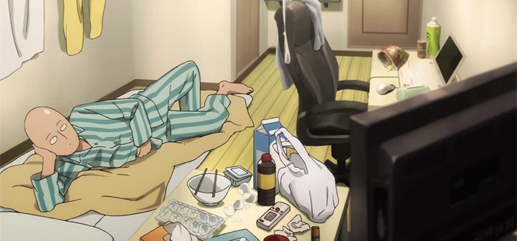 Saitama at home in One Punch Man anime