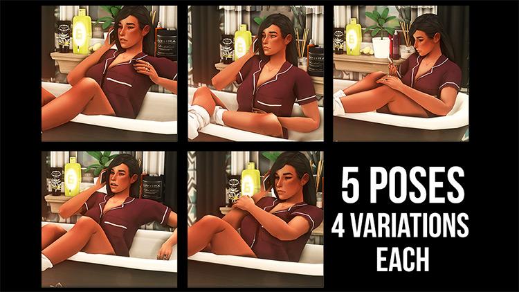 Bathtub Phone Pose Pack / TS4 CC