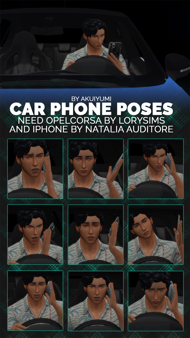 Car Phone Poses / Sims 4 CC