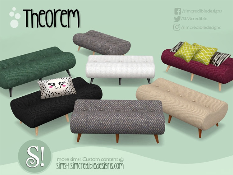 Theorem Hallway Ottoman for The Sims 4