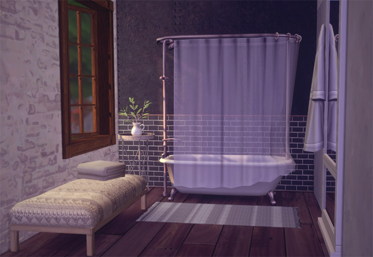 Anthropologie Rug-textured Ottoman for The Sims 4
