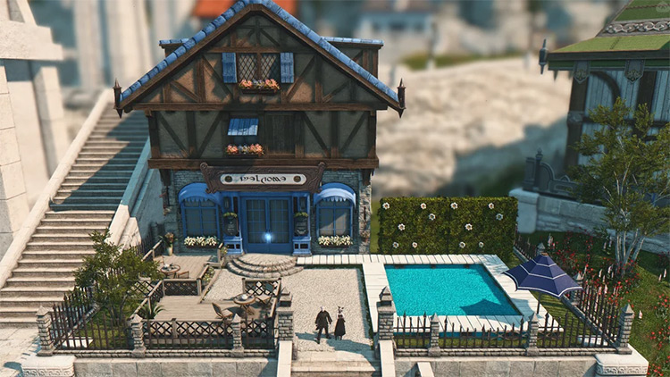 House with a swimming pool in FFXIV