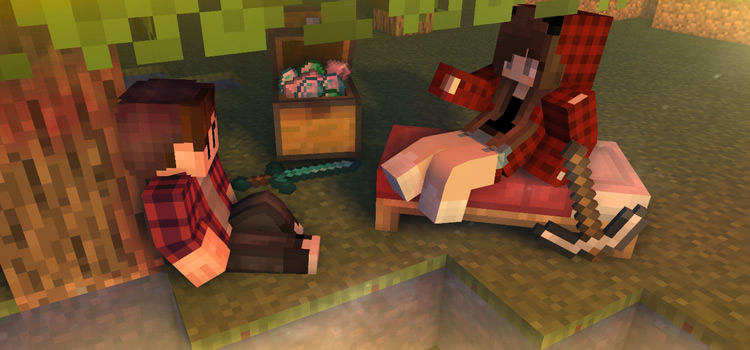 Guy and Girl in Flannel Sitting Under A Tree in Minecraft