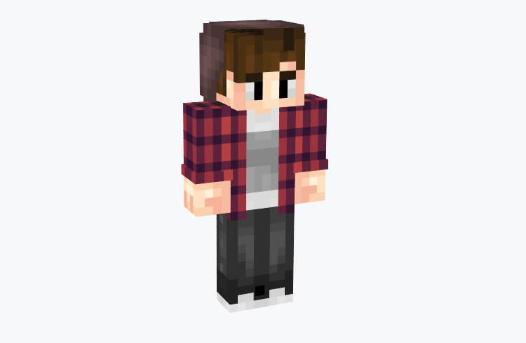 Hipster Boy in Flannel Shirt and Jeans / Minecraft Skin