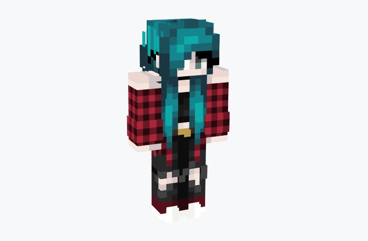 Emo Girl in Flannel with Blue Hair / Minecraft Skin