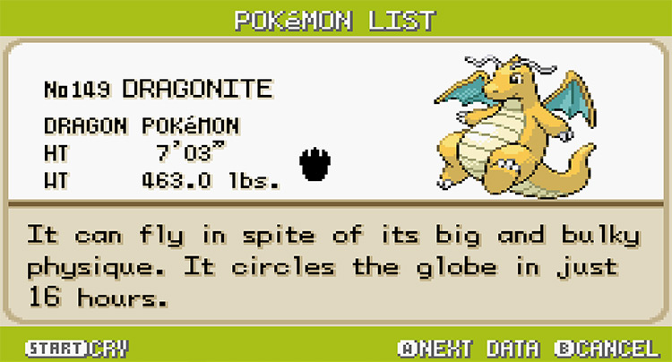 Dragonite Pokedex Entry in Pokemon FireRed