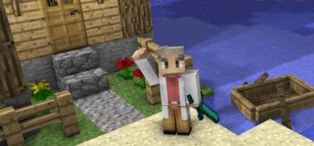 Professor Oak Skin Posing Outside Minecraft House