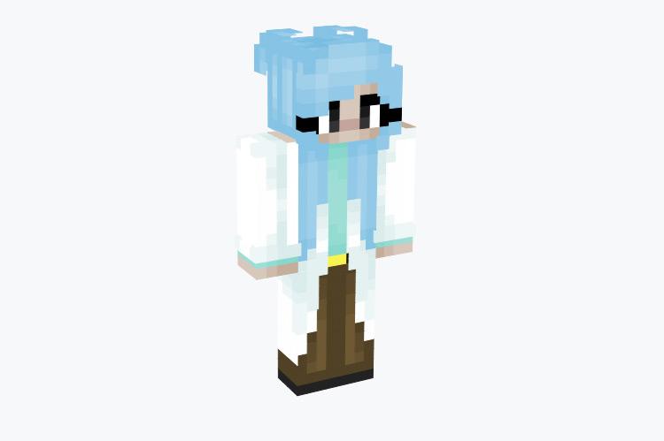 Ice-Blue Long Hair Scientist / Minecraft Skin