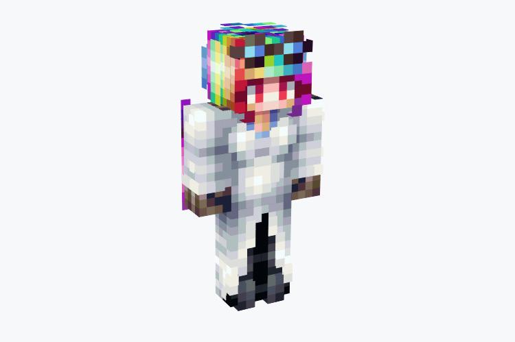 Girl Scientist with Rainbow Hair / Minecraft Skin
