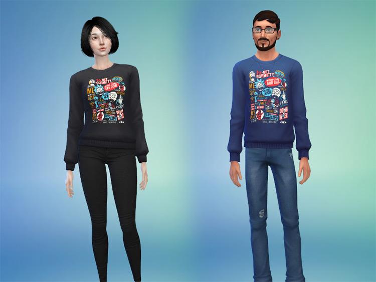Sims 4 CC / Wubba Lubba Dub Dub T-Shirt