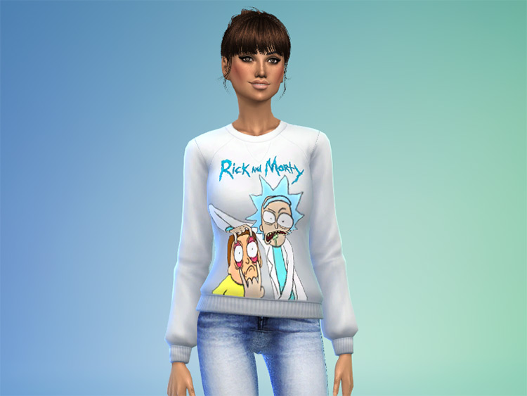 Sims 4 CC / White Rick & Morty Sweater Preview