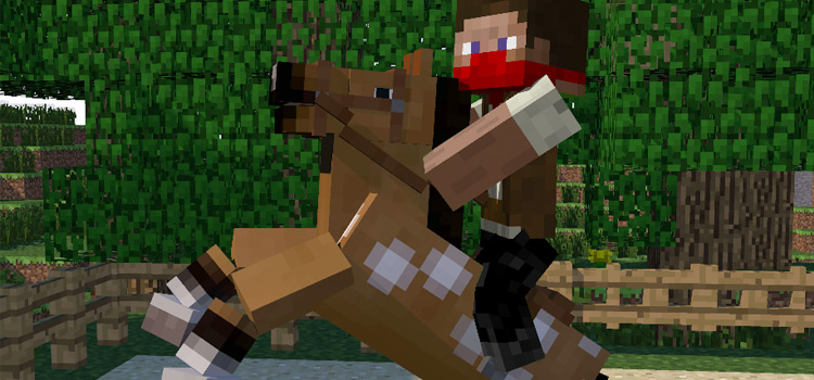 Basic Cowboy Skin on Horseback in Minecraft