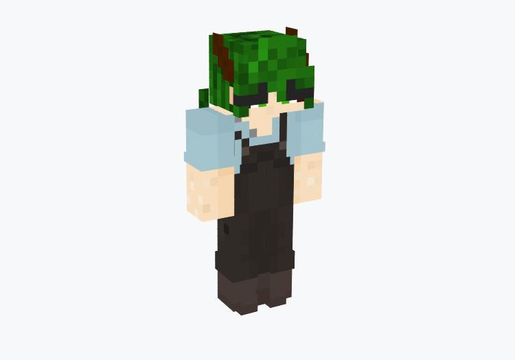 Green-Haired Male Farmer / Minecraft Skin