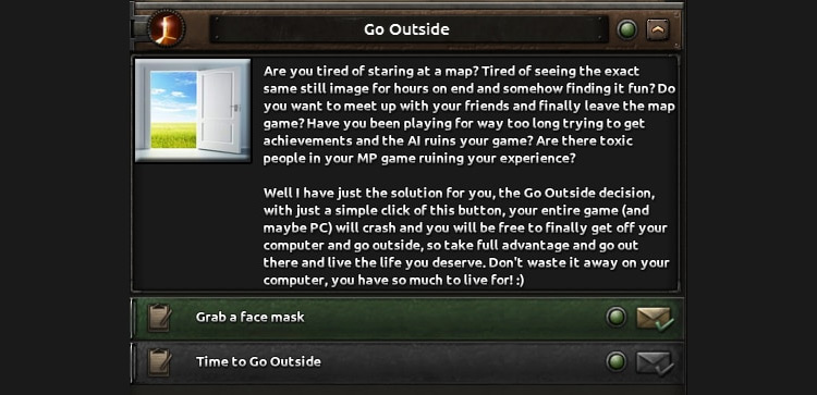 Finally, the Go Outside Decision HOI4 Mod
