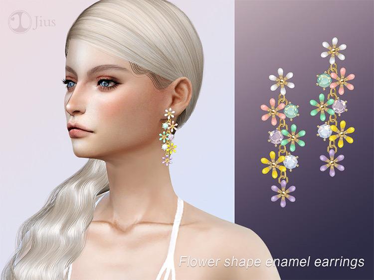 Flower Shaped Enamel Earrings / Sims 4 CC