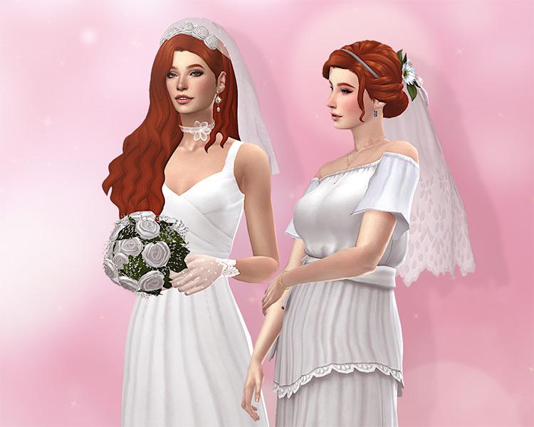 Daisy & Rose Wedding Set of Veils / TS4 CC